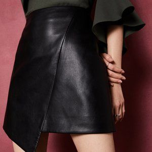 Black Oolive Asymmetric Faux Leather Skirt US 8